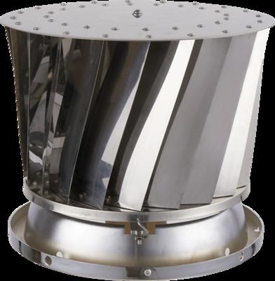 Twister RVS Groot-Roterende Trekkap-Voor Ø 120 tot 300 mm-Waterdichte bovenplaat