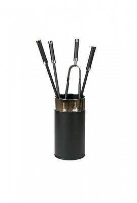 Haardstel met houder, zwart / chroom, 4 delig, 60 cm hoog