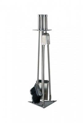 Haardstel RVS staand, 3 delig, 62 cm hoog
