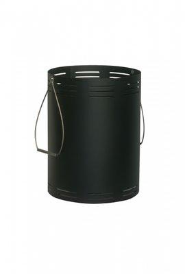 Houtbak , zwart, op wielen, rond 38 cm, 52 cm hoog