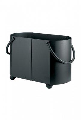 Houtbak op wielen, zwart, 60 x 32 x 42 cm hoog
