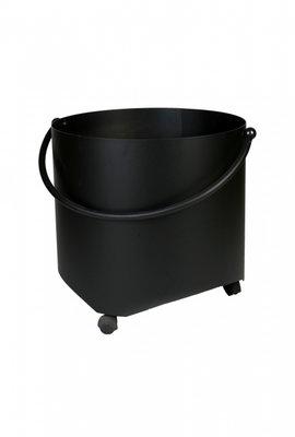 Houtbak zwart met wielen, rond 44 cm x 40 cm hoog