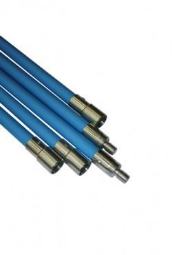 Veegstok met borging Blauw  120 cm