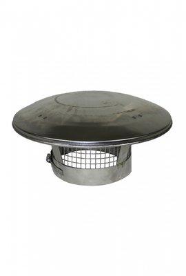 Regenkap  / vonkenvanger,  RVS voor 150 mm rookkanaal
