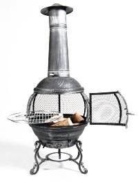 Tuinhaard met BBQ diameter 55 X 142 cm Hoog  Antraciet / Zwart