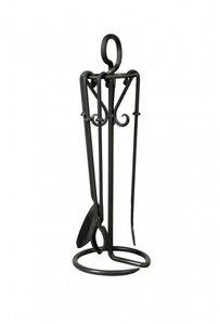 Haardstel zwart, staand, 3 delig, 77 cm hoog