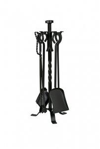 Haardstel, zwart, staand, 4 delig, 67 cm hoog