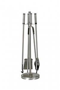Haardstel RVS modern, staand, 4 delig, 72 cm hoog