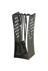 Haardstel handgesmeed zwart,staand,  4 delig 42 cm hoog